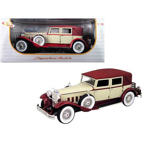 1930 Packard LeBaron Cream and Red 1/18 Diecast Model Car by Signature Models