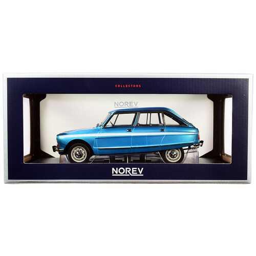 1974 Citroen Ami Super Delta Blue Metallic with White Stripes 1/18 Diecast Model Car by Norev