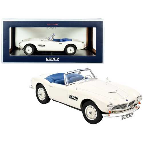 1956 BMW 507 Convertible White with Blue Interior 1/18 Diecast Model Car by Norev