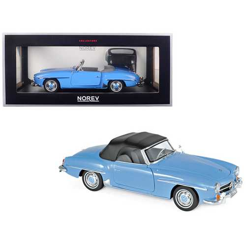 1957 Mercedes Benz 190 SL Cabriolet Blue 1/18 Diecast Model Car by Norev