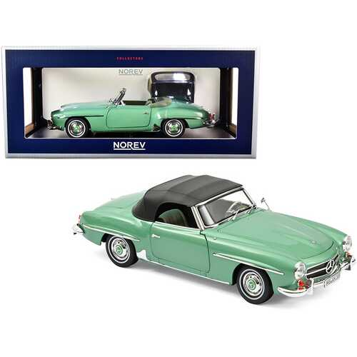 1957 Mercedes Benz 190 SL Cabriolet Light Green Metallic with Black Top 1/18 Diecast Model Car by Norev