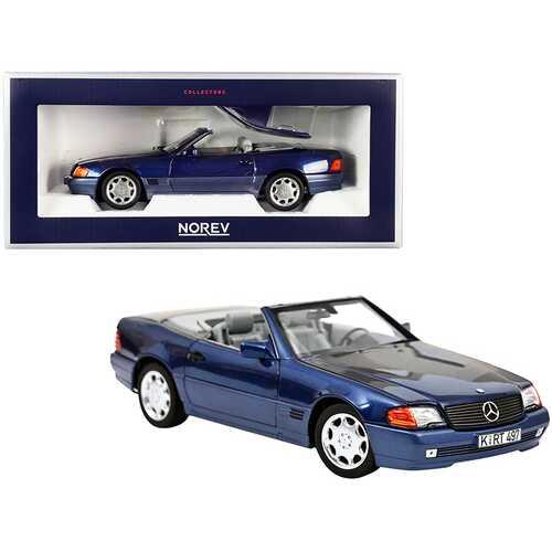 1989 Mercedes Benz 500 SL Convertible Dark Blue Metallic 1/18 Diecast Model Car by Norev