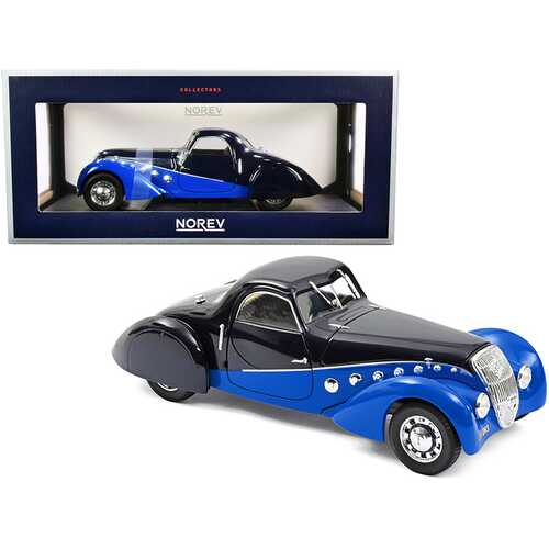 1937 Peugeot 302 Darl Mat Coupe Dark Blue and Blue 1/18 Diecast Model Car by Norev