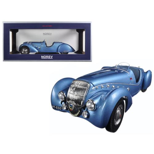 1937 Peugeot 302 Darl Mat Roadster Blue Metallic 1/18 Diecast Model Car by Norev