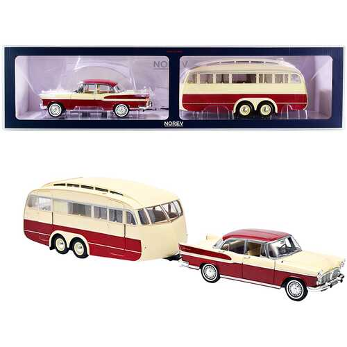 1958 Simca Vedette Chambord and Caravane Henon Travel Trailer Cardinal Red and Ivory Set of 2 pieces 1/18 Diecast Model Car by Norev