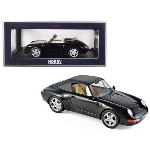 1993 Porsche 911 Carrera Cabriolet Black 1/18 Diecast Model Car by Norev