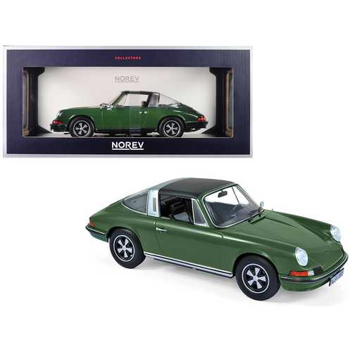 1973 Porsche 911 S Targa Green with Black Top 1/18 Diecast Model Car by Norev