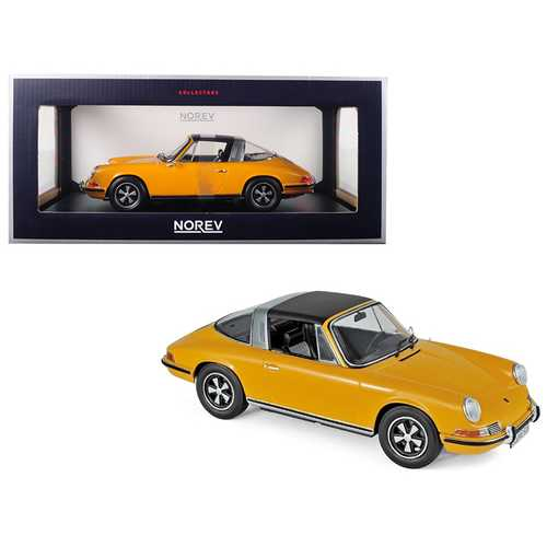 1969 Porsche 911 E Targa Orange with Black Top 1/18 Diecast Model Car by Norev