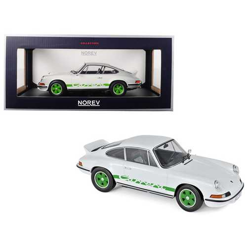 1973 Porsche 911 RS Touring White with Green Stripes and Wheels 1/18 Diecast Model Car by Norev