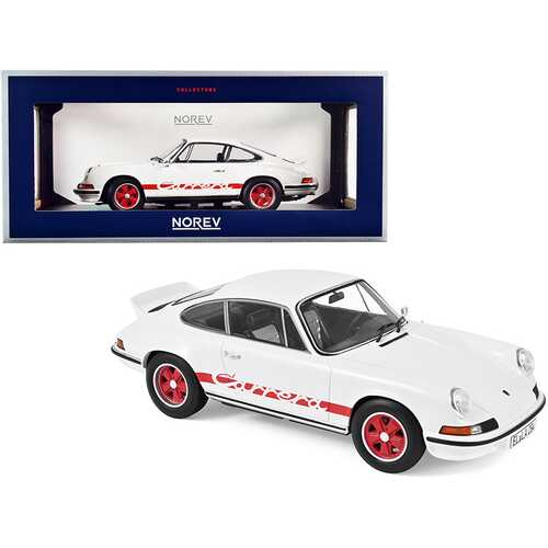 1973 Porsche Carrera 911 RS Touring White with Red Stripes 1/18 Diecast Model Car by Norev