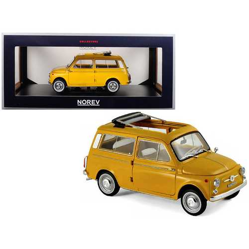 1968 Fiat 500 Giardiniera Positano Yellow 1/18 Diecast Model Car by Norev