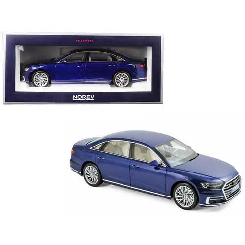 2017 Audi A8 L Blue Metallic 1/18 Diecast Model Car by Norev