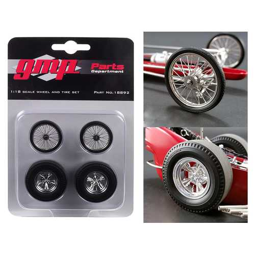 "Wheels and Tires Set of 4 pieces from ""Tommy Ivo's Barnstormer"" Vintage Dragster 1/18 Model by GMP"