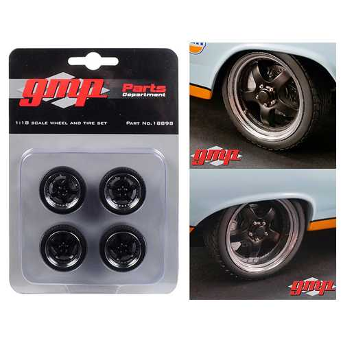 """5-Spoke Wheel and Tire Pack of 4 from 1966 Ford Fairlane Street Fighter """"Gulf Oil"""" 1/18 by GMP"""