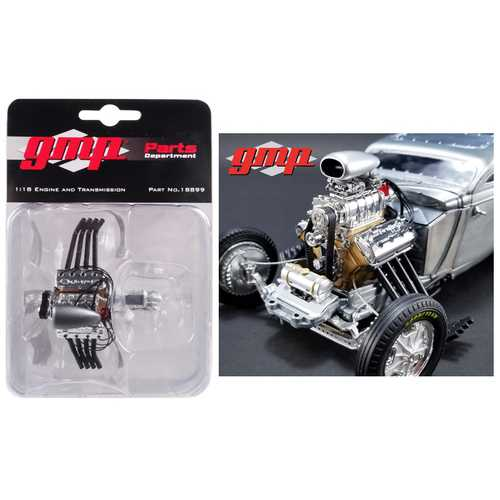 """Blown Altered Drag Engine with Zoomie Headers and Transmission Replica from """"1934 Blown Altered Coupe"""" 1/18 Model by GMP"""
