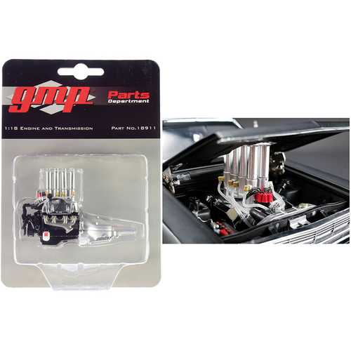 """Injected 427 Engine and Transmission Replica from """"Pork Chop's 1966 Ford Fairlane"""" 1/18 Model by GMP"""