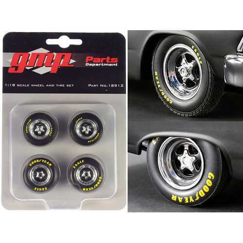 "Pro Star 5-Spoke Drag Wheels and Tires Set of 4 pieces from ""Pork Chop's 1966 Ford Fairlane"" 1/18 by GMP"