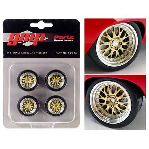 "Big Red Pro Touring Wheels and Tires Set of 4 pieces from ""1969 Chevrolet Camaro Big Red Camaro"" 1/18 Scale by GMP"