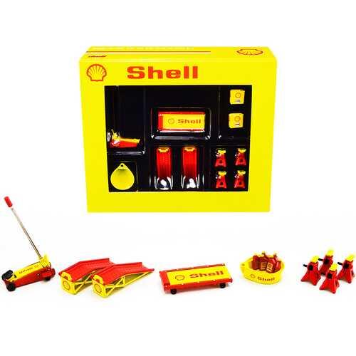 "Shop Tool Set of 6 pieces ""Shell Oil"" 1/18 Diecast Replica by GMP"