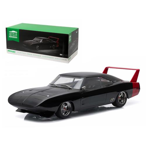 1969 Dodge Charger Daytona Custom Black with Red Rear Wing 1/18 Diecast Model Car by Greenlight