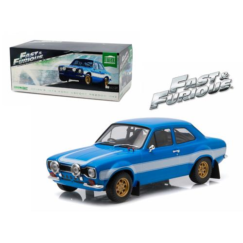 "Brian's 1974 Ford Escort RS2000 Mk1 Blue with White Stripes ""Fast & Furious 6"" Movie (2013) 1/18 Diecast Model Car by Greenlight"