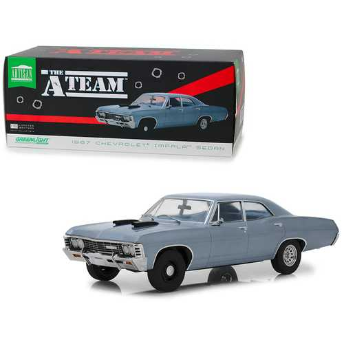 "1967 Chevrolet Impala Sedan Steel Blue ""The A-Team"" (1983-1987) TV Series 1/18 Diecast Model Car  by Greenlight"