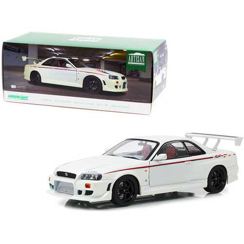 1999 Nissan Skyline GT-R (BNR34) RHD (Right Hand Drive) Pearl White with Stripes and Graphics 1/18 Diecast Model Car by Greenlight