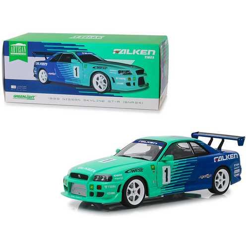 """1999 Nissan Skyline GT-R (BNR34) #1 """"Falken Tires"""" 1/18 Diecast Model Car by Greenlight"""