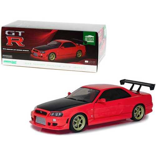 1999 Nissan Skyline GT-R (BNR34) RHD (Right Hand Drive) Red with Black Hood and Gold Wheels with Neon LED Light Underglow 1/18 Diecast Model Car by Greenlight