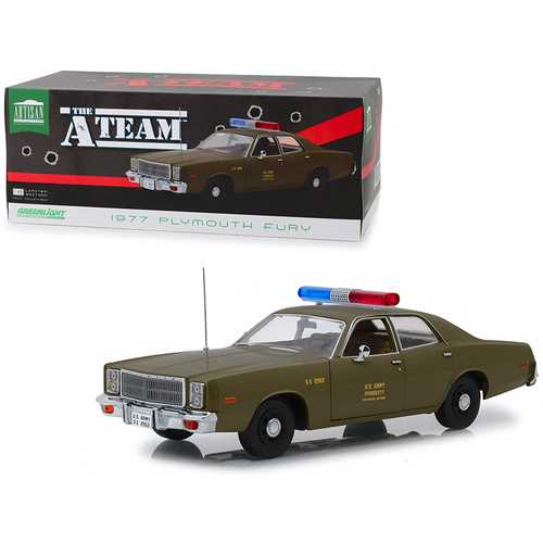 "1977 Plymouth Fury U.S. Army Police Army Green ""The A-Team"" (1983-1987) TV Series 1/18 Diecast Model Car by Greenlight"