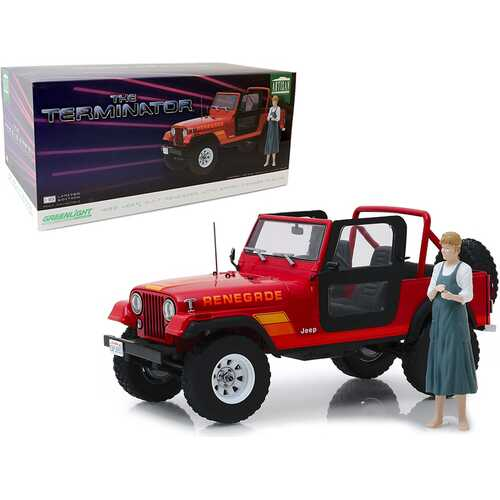 """1983 Jeep CJ-7 Renegade Red with Sarah Connor Figurine """"The Terminator"""" (1984) Movie 1/18 Diecast Model Car by Greenlight"""