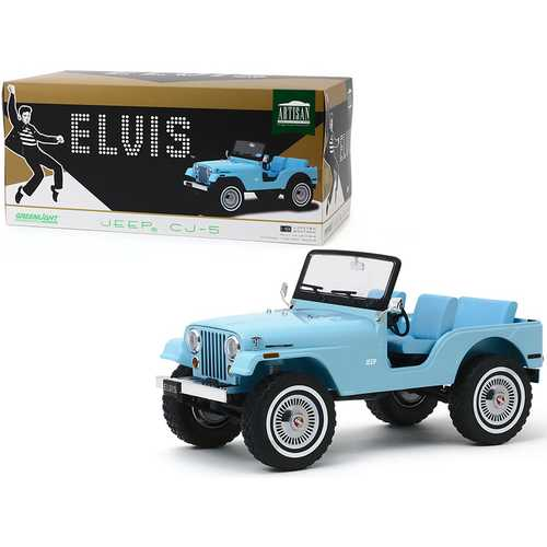 Jeep CJ-5 Sierra Blue Elvis Presley (1935-1977) 1/18 Diecast Model Car by Greenlight