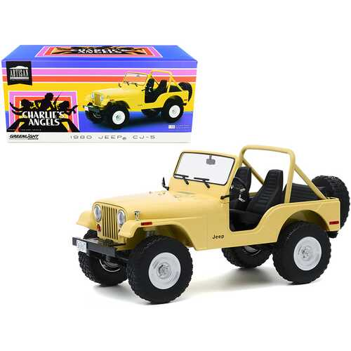 """1980 Jeep CJ-5 Yellow (Julie Roger's) """"Charlie's Angels"""" (1976-1981) TV Series 1/18 Diecast Model Car by Greenlight"""