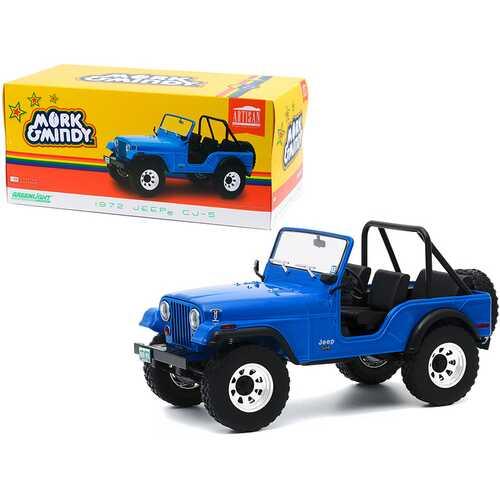 """1972 Jeep CJ-5 Blue """"Mork & Mindy"""" (1978-1982) TV Series 1/18 Diecast Model Car by Greenlight"""
