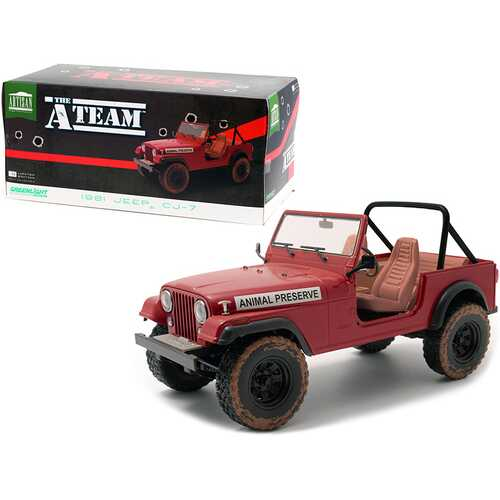 """1981 Jeep CJ-7 """"Animal Preserve"""" Red (Dirty Version) """"The A-Team"""" (1983-1987) TV Series 1/18 Diecast Model Car by Greenlight"""