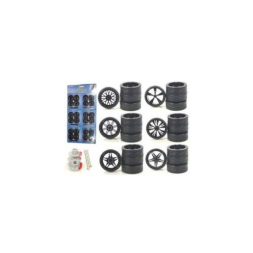 Wheels and Tires Multipack Set of 24 pieces for 1/18 Scale Cars and Trucks