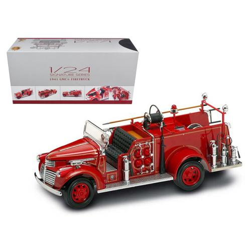1941 GMC Fire Engine Red with Accessories 1/24 Diecast Model Car by Road Signature