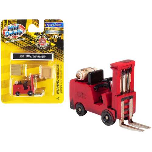 1950's-1960's Forklift Truck Red with Accessories 1/87 (HO) Scale Model by Classic Metal Works