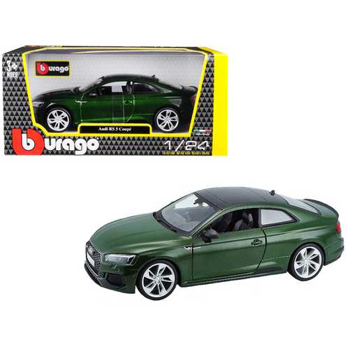 Audi RS 5 Coupe Metallic Green Metallic with Black Top 1/24 Diecast Model Car by Bburago