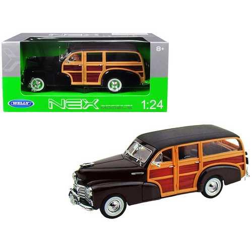 1948 Chevrolet Woody Fleetmaster Dark Brown 1/24 Diecast Model Car by Welly