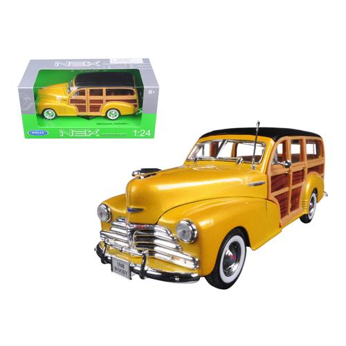 1948 Chevrolet Woody Wagon Fleetmaster Gold 1/24 Diecast Model Car by Welly