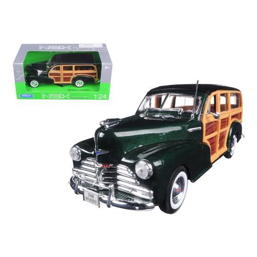 1948 Chevrolet Woody Wagon Fleetmaster Green 1/24 Diecast Model Car by Welly