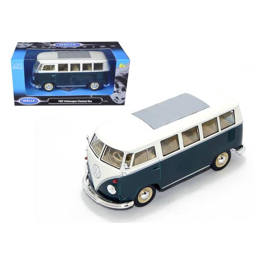 1962 Volkswagen Microbus Green 1/24 Diecast Model Car by Welly