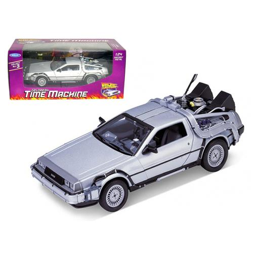"""Delorean From Movie """"Back To The Future 1"""" 1/24 Diecast Model Car by Welly"""