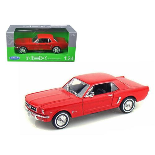 1964 1/2 Ford Mustang Hard Top Red 1/24 Diecast Car Model by Welly