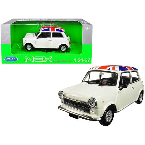 Mini Cooper 1300 White with British Flag on the Roof 1/24-1/27 Diecast Model Car by Welly