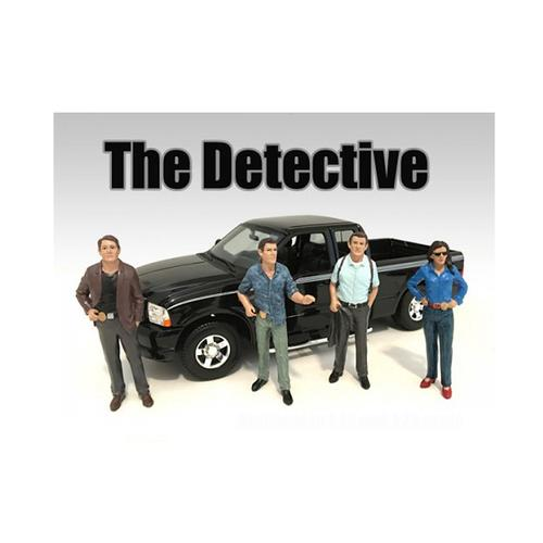 """""""The Detectives"""" 4 Piece Figure Set For 1:18 Scale Models by American Diorama"""