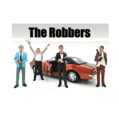 """""""The Robbers"""" 4 Piece Figure Set For 1:24 Scale Models by American Diorama"""