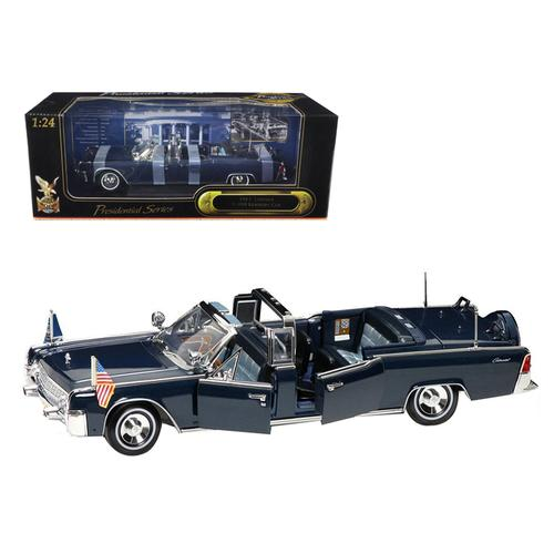 1961 Lincoln X-100 Kennedy Limousine Blue with Flags 1/24 Diecast Model Car by Road Signature