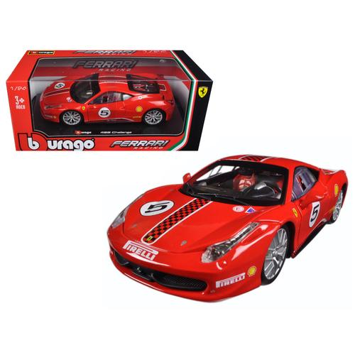 Ferrari 458 Challenge #5 Red 1/24 Diecast Model Car by Bburago